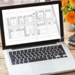 Building project blueprint plan on a computer screen.